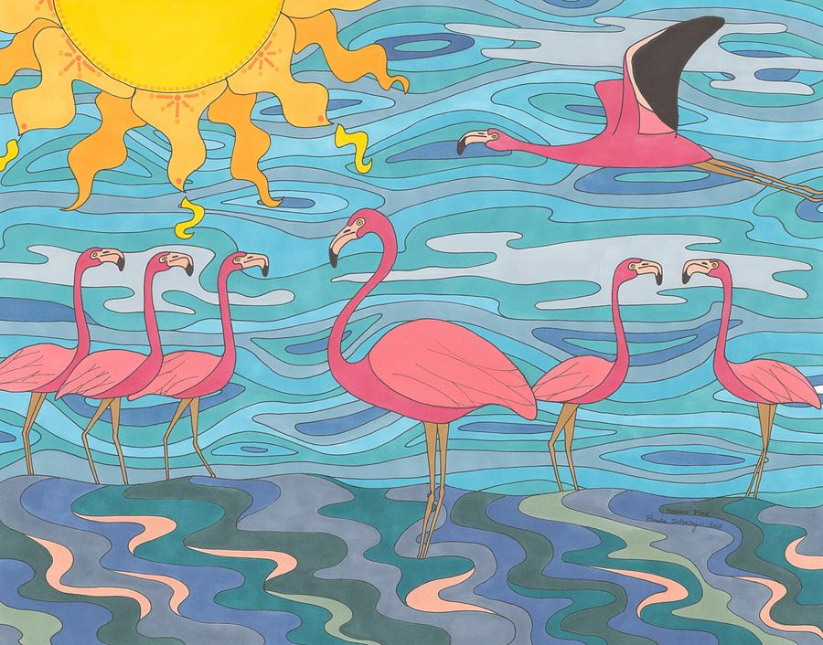 Flamingo Drawing - Seeing Pink by Pamela Schiermeyer