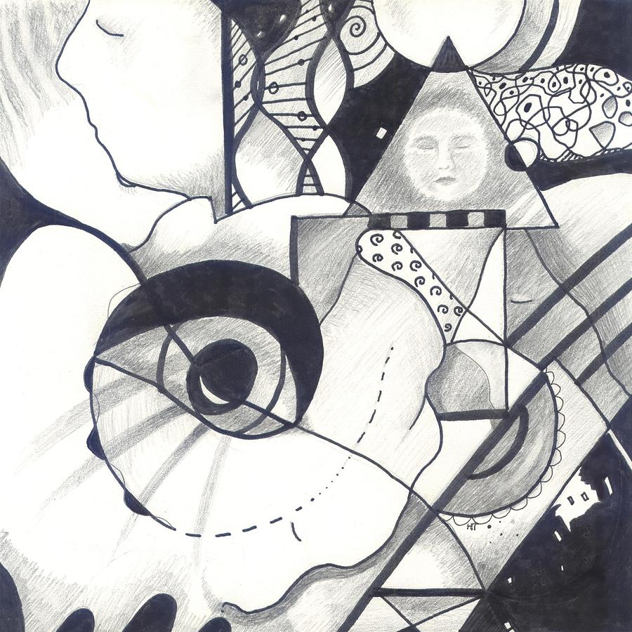 Black And White Drawing - Seeking Comfort by Helena Tiainen