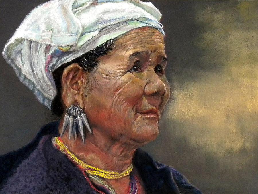 Tribal Woman; Pastel Painting; Portrait;  Painting - Seeking Refuge by Amy Kranz