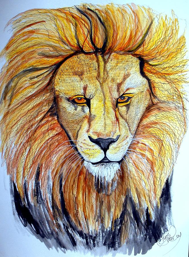 Lion Portrait Painting - Seeking Whom He May Devour by Chris Crowley