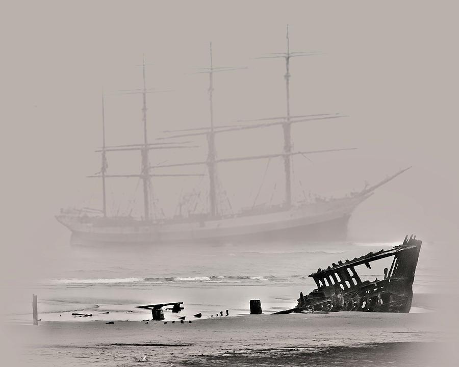 Wreck Digital Art - Seen Through The Fog by John Christopher