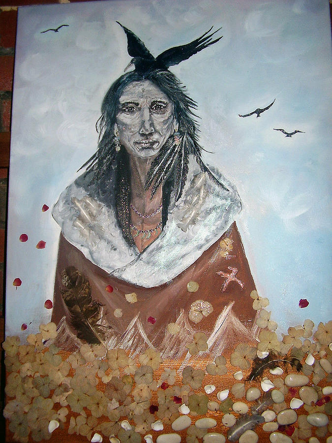Oil Painting - Sees Like Crow by Naomi Bowman