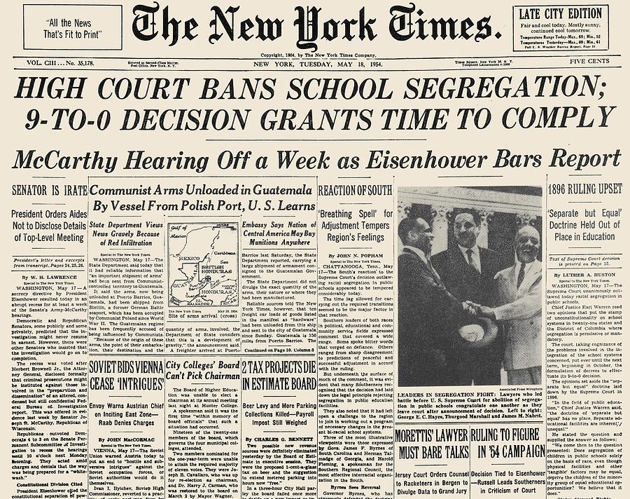 1954 Photograph - Segregation Headline, 1954 by Granger