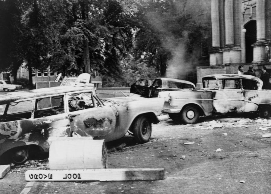 History Photograph - Segregationist Riot At Old Miss. Burned by Everett