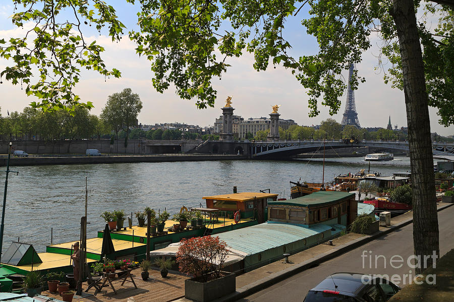 Seine Photograph - Seine Barges In Paris In Spring by Louise Heusinkveld