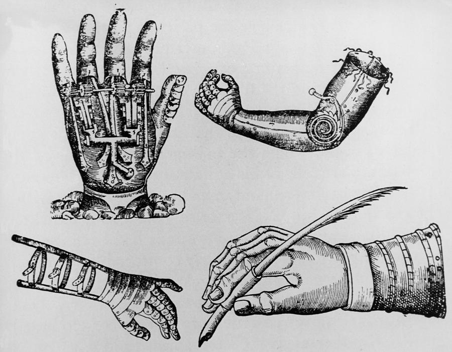 Arm Photograph - Selection Of 16th Century Artificial Arms & Hands. by Dr Jeremy Burgess.