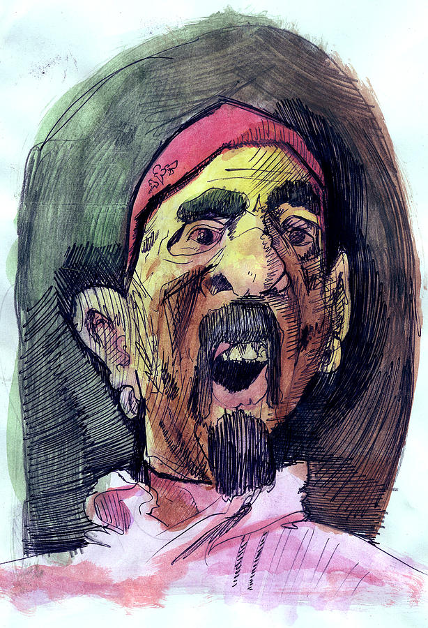 Pen Painting - Self In Pirate Mask by John Baker