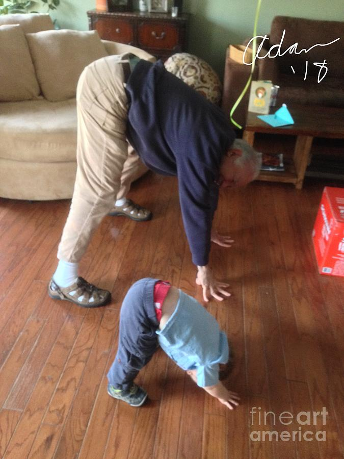 Self Portrait 8 - Downward Dog With Grandson Max On His 2nd Birthday Photograph