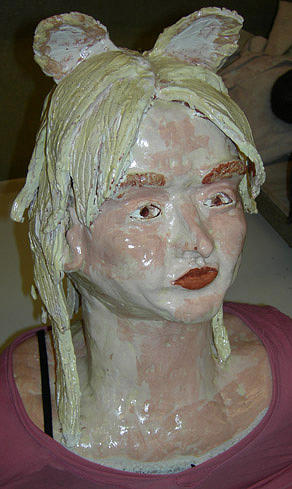 Self Portrait Ceramic Art - Self Portrait Bust  by Arica Kaler