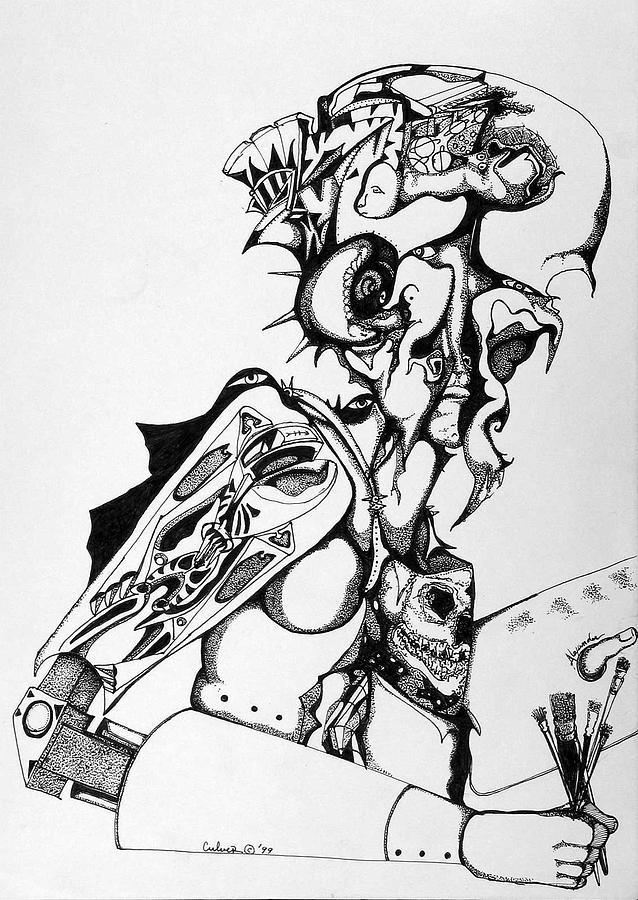 Skeleton Drawing - Self Portrait by Daniel Culver