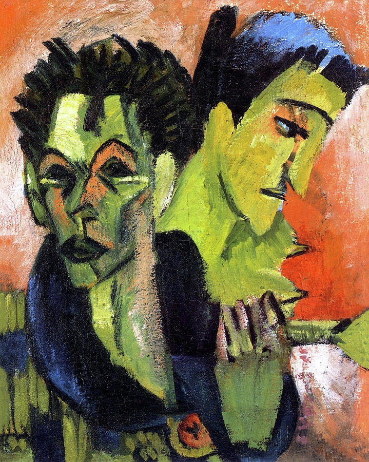 Die Brucke Painting - Self-Portrait, Double Portrait by Ernst Ludwig Kirchner