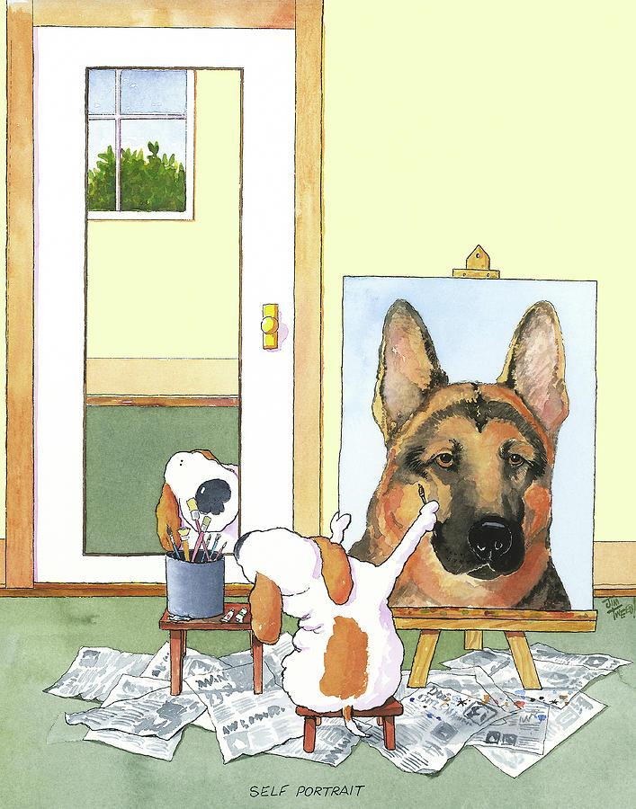German Shepherd Painting - Self Portrait, German Shepherd by Jim Tweedy