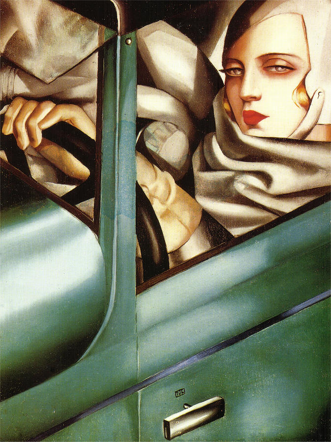 self portrait in a green bugatti paintingtamara de lempicka