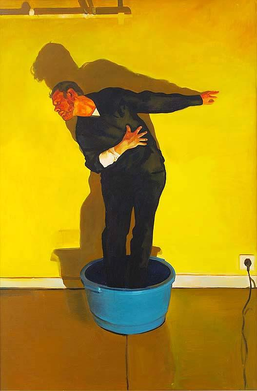Robinson Painting - Self Portrait In The Washing Bowl by John M Robinson