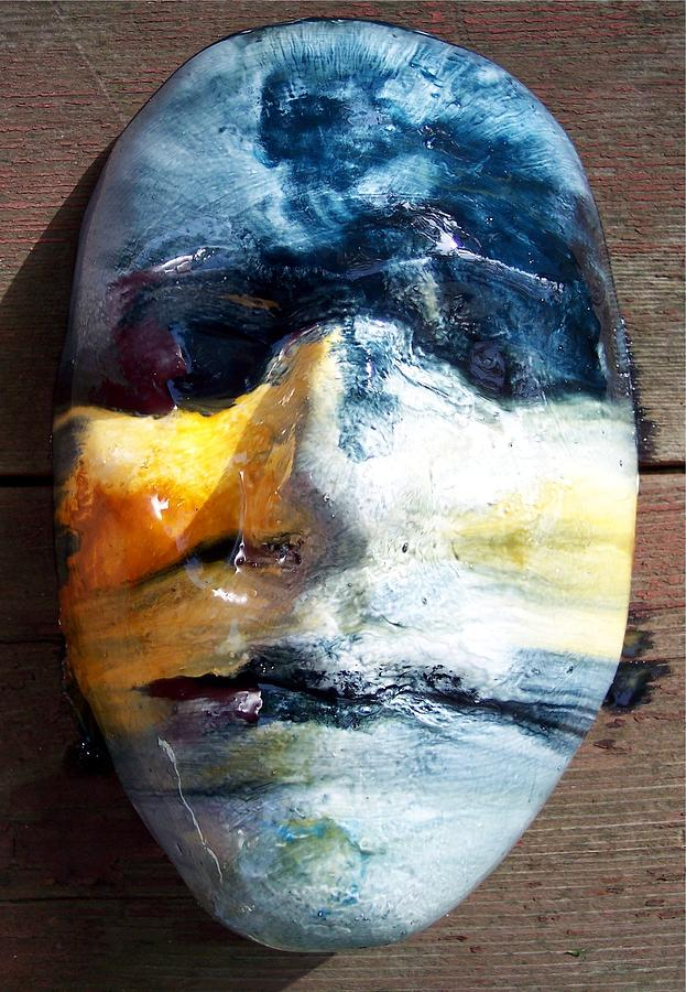 Visionary Painting - Self Portrait Life Mask by Trey Berry