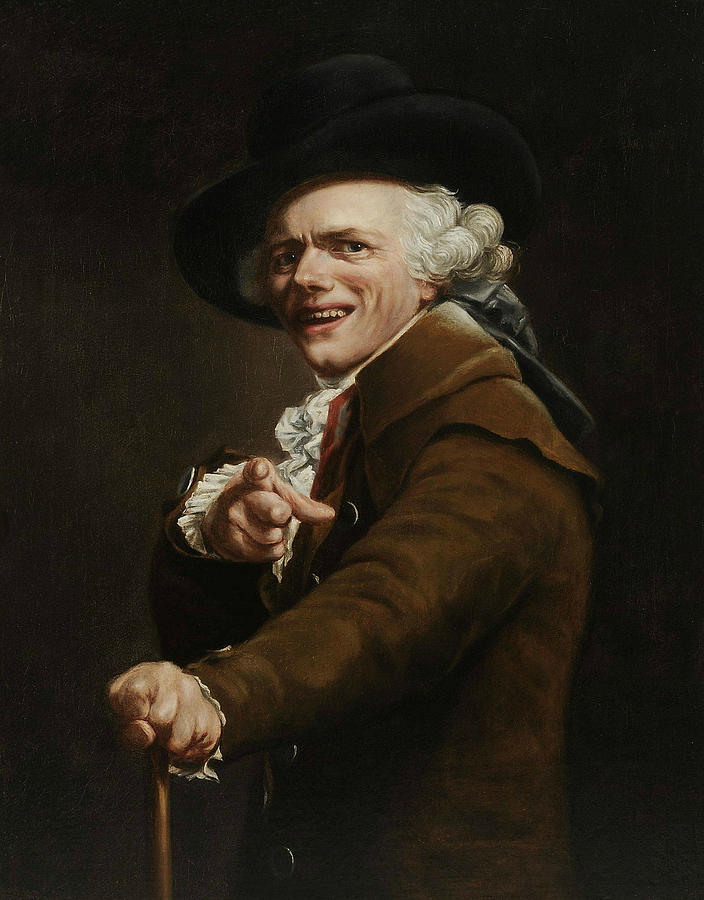 French Painters Painting - Self-portrait Of The Artist In The Guise Of A Mocker by Joseph Ducreux