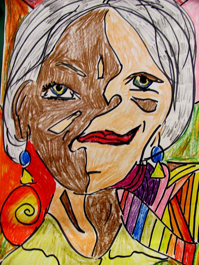 Abstract Self Portrait Mixed Media - self portrait Picasso style by Mona McClave Dunson