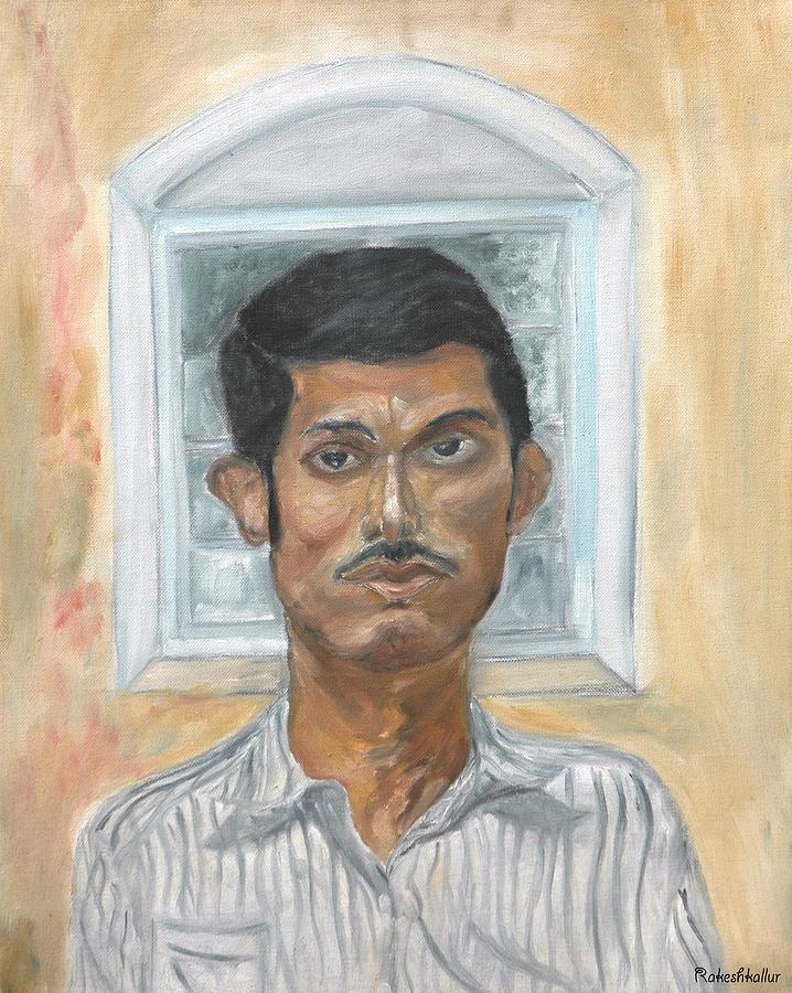 Portrait Painting - Self Portrait by Rakesh Kallur