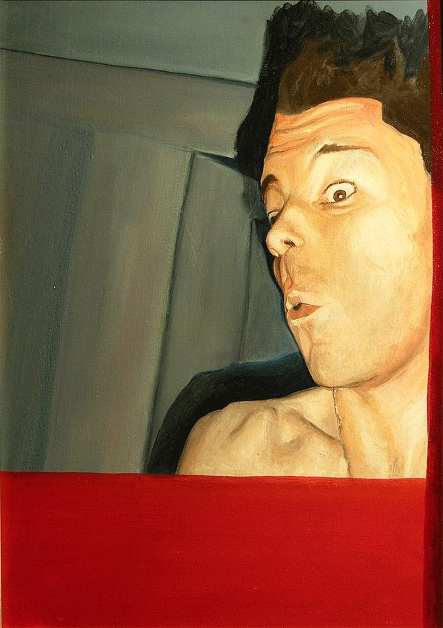 Oil Painting - Self Portrait Red by Marshall Okin