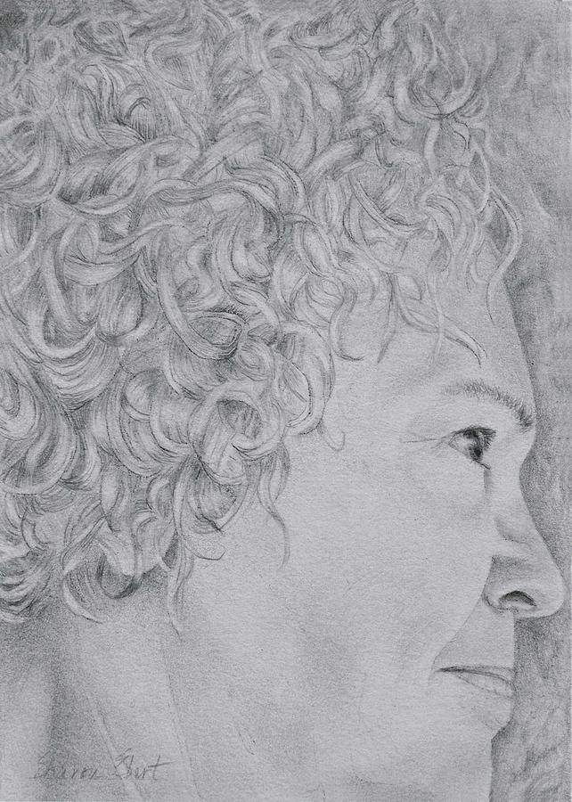 Graphite Drawing - Self Portrait by Sharon Ebert