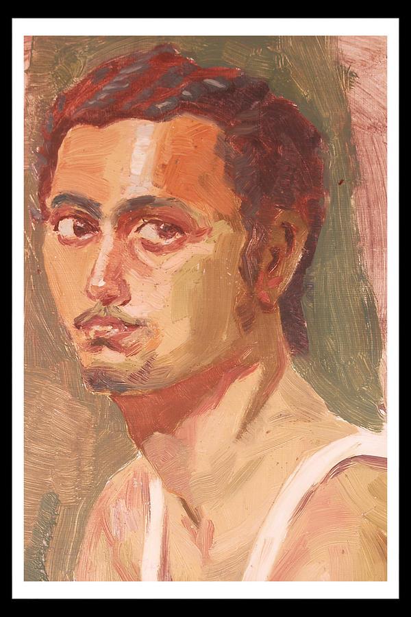 Home Decor Painting - Self Portrait Sketch  by Makarand Joshi