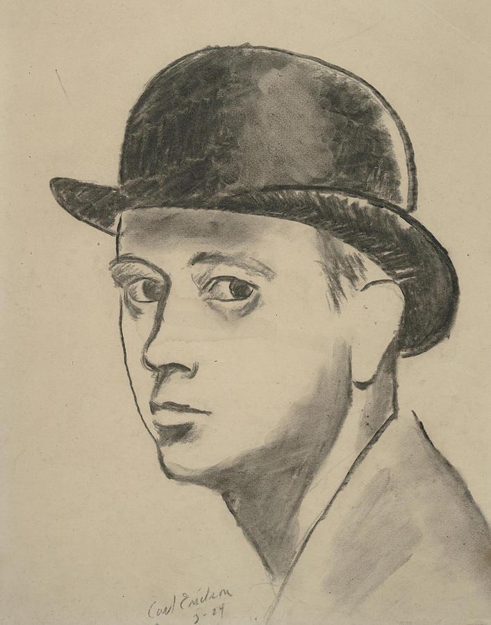 Self-portrait Sketch Of Carl Erickson Digital Art by Carl Oscar August Erickson
