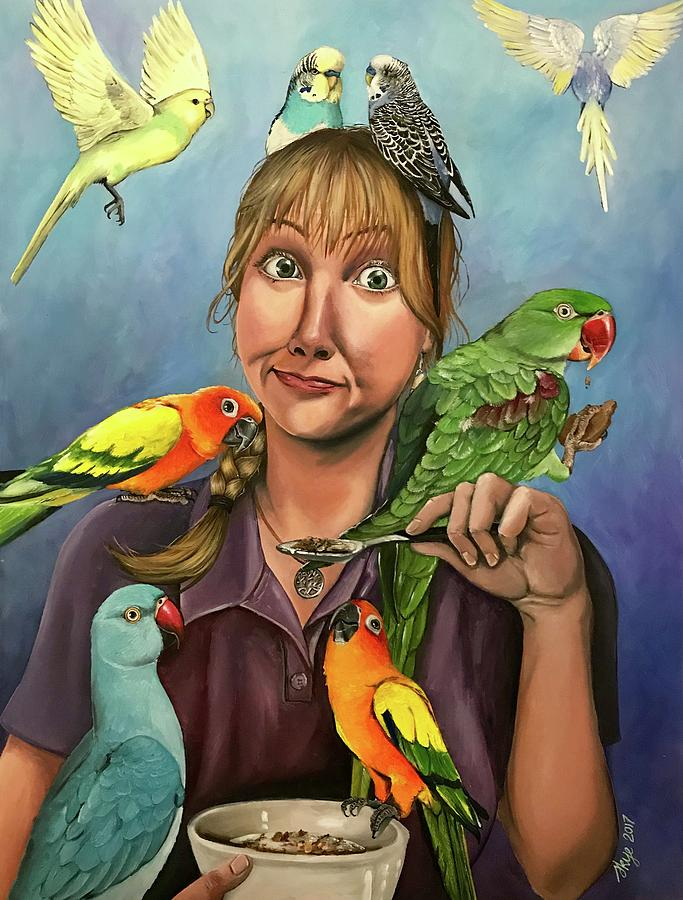 Birds Painting - Self-portrait With Birds by Skye Tranter