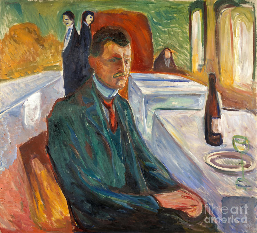 Portrait Painting - Self Portrait With Bottle Of Wine 1906 By Edvard Munch by Art Anthology