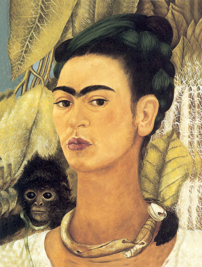 FRIDA KAHLO : Self-Portrait with Monkeys, 1943 Art