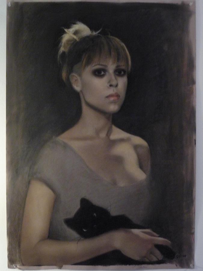 Self Portrait Pastel - Self Portrait With Puppet. by Giselle Dozier