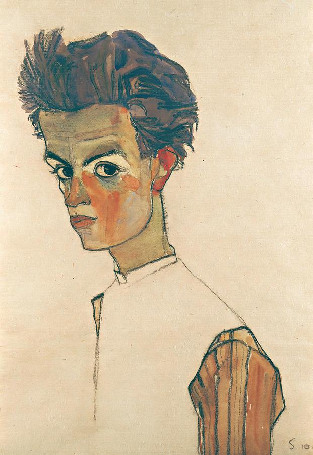 Egon Schiele Drawing - Self-portrait With Striped Shirt by Egon Schiele