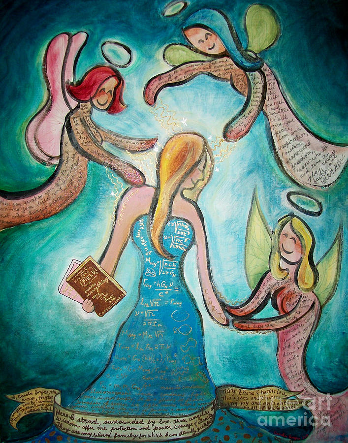 Angels Painting - Self Portrait With Three Spirit Guides by Carola Joyce