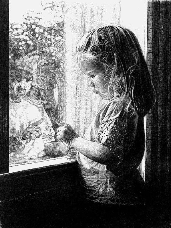 Children Drawing - Self Reflection by Robb Scott