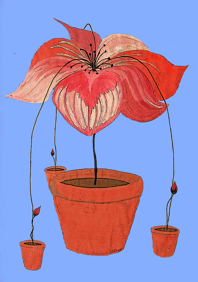 Potted Plant Painting - Self-seeding Pot Plants by SB Boursot