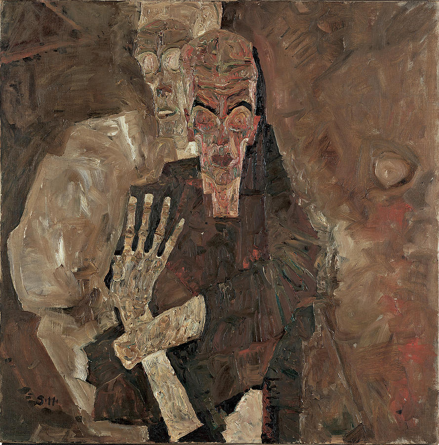 Artist Painting - Self-seer II Death And Man 1911 by Egon Schiele
