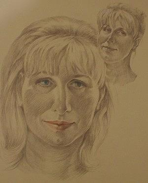 Selfportrait Drawing by Oksana Franklin