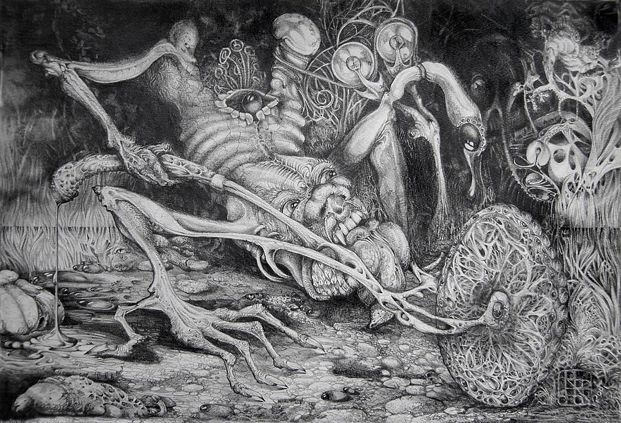 Surrealism Drawing - Selfpropelled Beastie Seeder by Otto Rapp