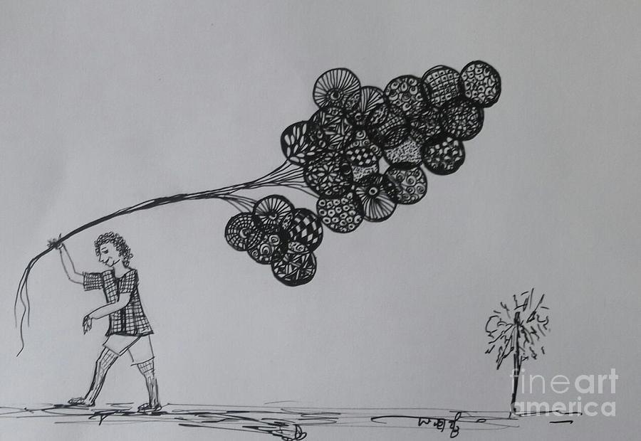 Sketch Drawing - Selling Dreems by Usha Rai