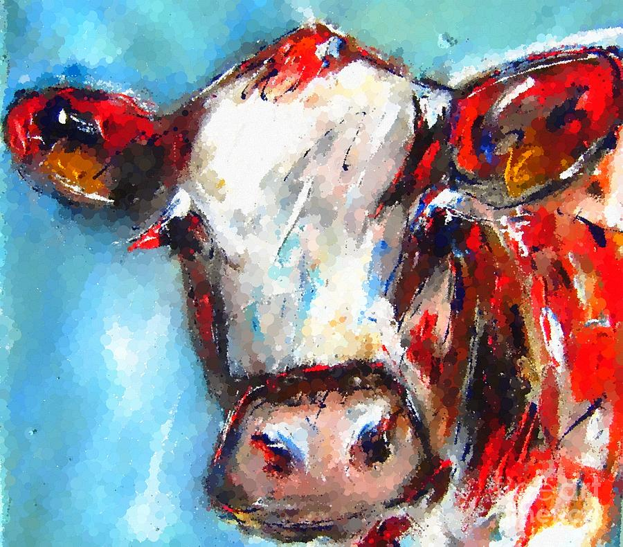 painting of bovine in semi impressionist dots by Mary Cahalan Lee- aka PIXI