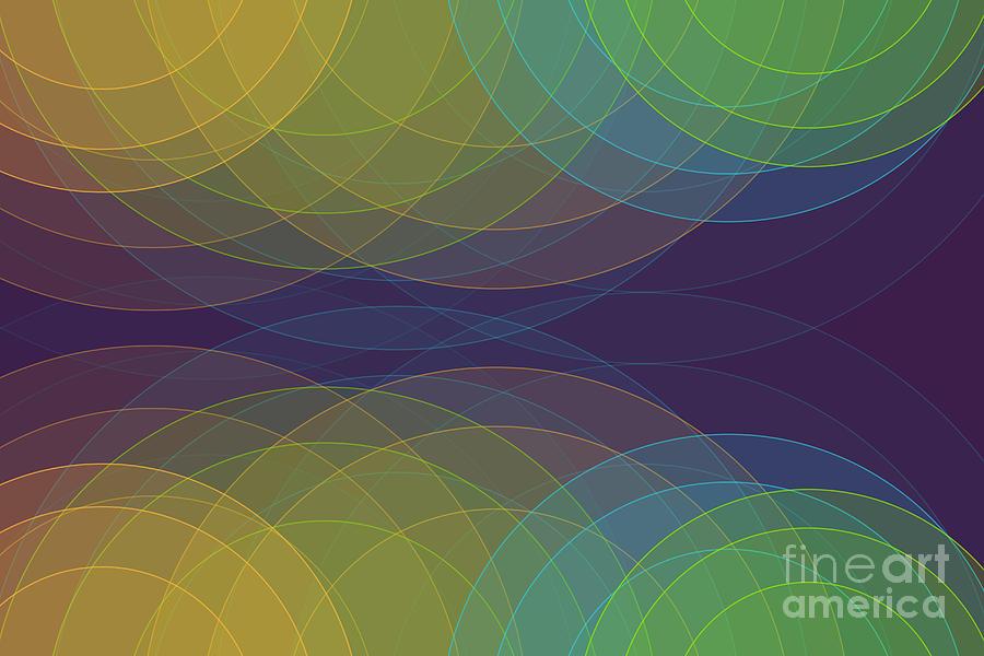 Abstract Digital Art - Semi Circle Background Horizontal by Frank Ramspott