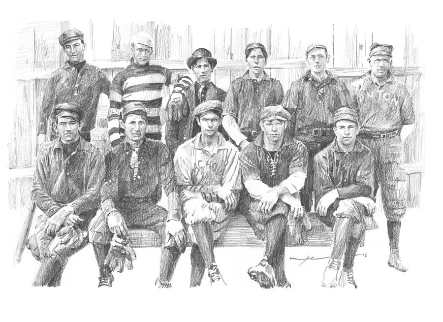 semipro baseball 1908 CO railroad pencil portrait Drawing by Mike Theuer