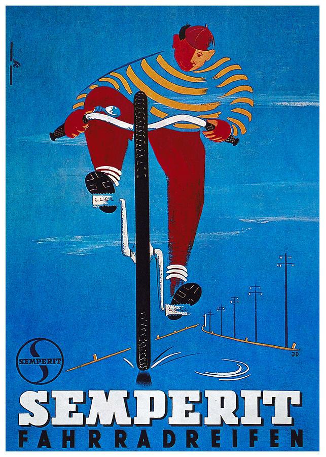 Semperit Fahrradreifen - Bicycle Tyre - Vintage Advertising Poster Mixed Media