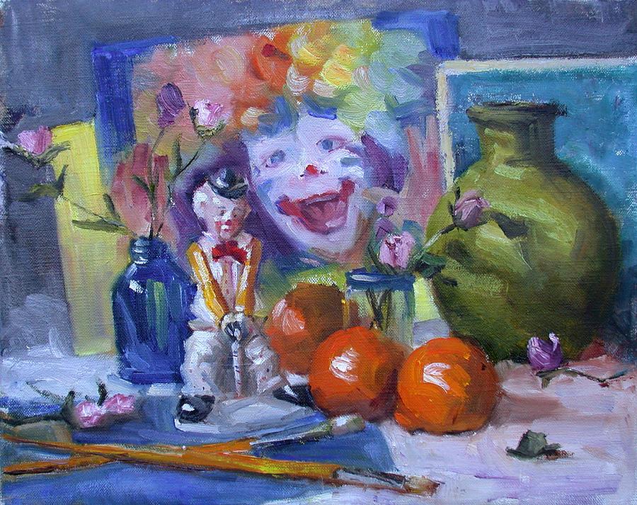 Clowns Painting - Send in the Clowns by Nancy Delpero