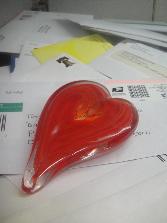 Glass Heart Photograph - Sending You My Heart Through The Mail by WaLdEmAr BoRrErO