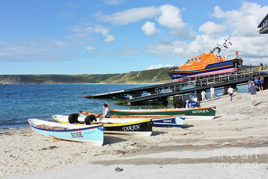 Sennen Cove Photograph - Sennen Cove Lifeboat And Pilot Gigs by Terri Waters