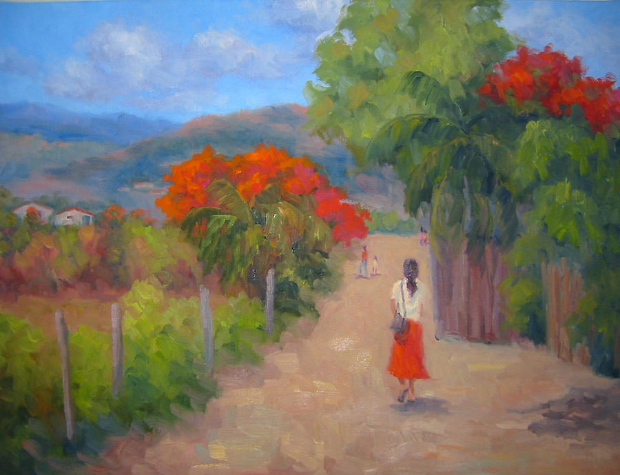 Honduras Painting - Senorita In A Red Skirt by Bunny Oliver