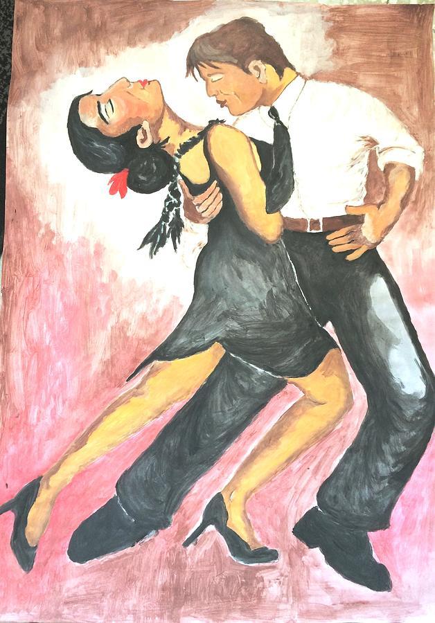 Tango Painting - Sensual Tango by Mimi Eskenazi