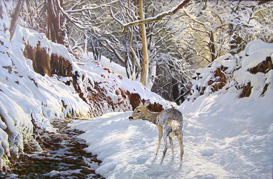Roe Deer Painting - Sentier Des Biches by Julian Wheat