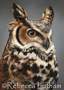 Owl Painting - Sentinel - Great Horned Owl by Rebecca Latham