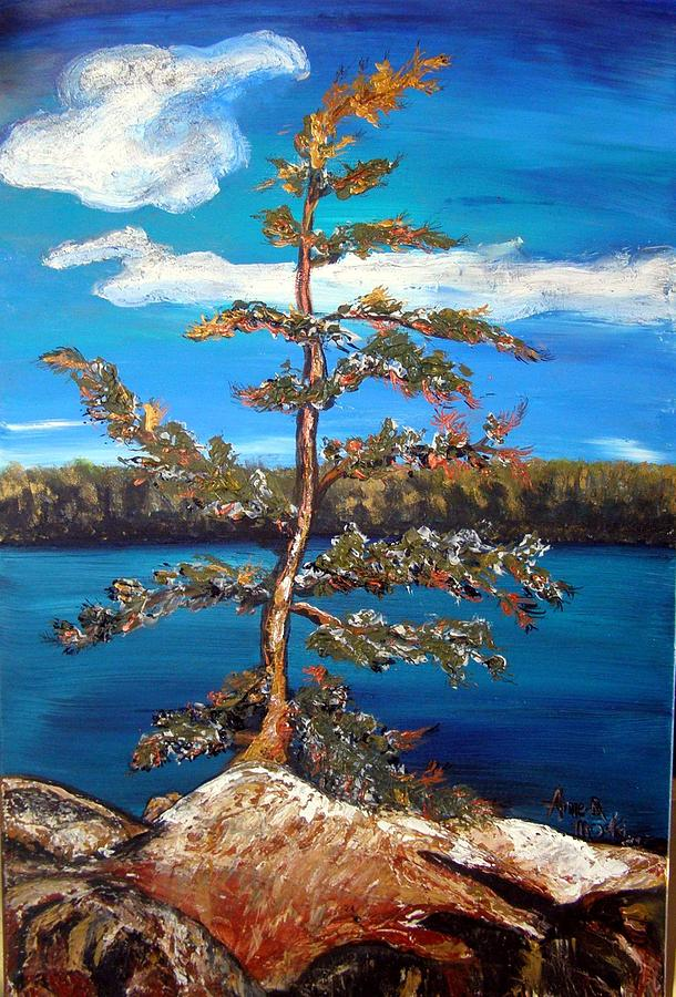 Pine Painting - Sentinel Pine Blue by Anne-D Mejaki - Art About You productions